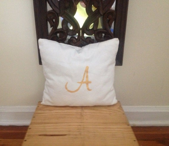 White pillow Metallic initial pillow organic cotton pillow
