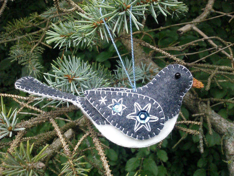 Wool Felt Bird Ornament/ Wool Junco by PatriciaWelchDesigns