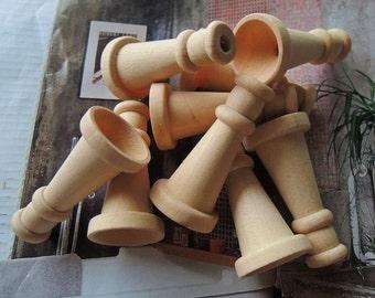 10 Pcs 36x18mm unfinished trumpet shaped wood bead (W289)