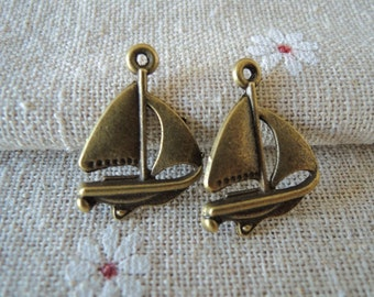 12Pcs  21X16mm antique bronze  sailboat (A109)