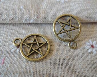 12Pcs  26X22mm antique bronze star charming (A188)