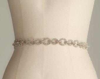Rhinestone Bridal Belt, Wedding Sash, Bridesmaid Belt, Dress Sash in Ivory