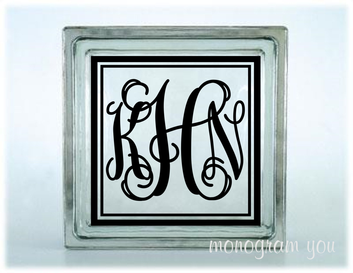 Monogram with frame glass block decal 044 for Glass block window frame