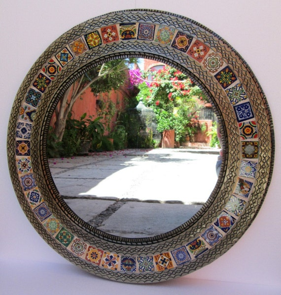 Round Punched Tin Mirror Mixed Talavera Tile Handmade Mexican