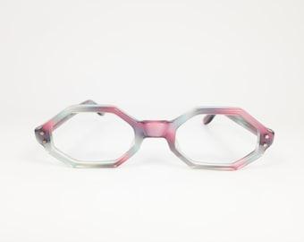Vintage 1960s Swan Blue and Purple Hexagonal Eyeglass Frame