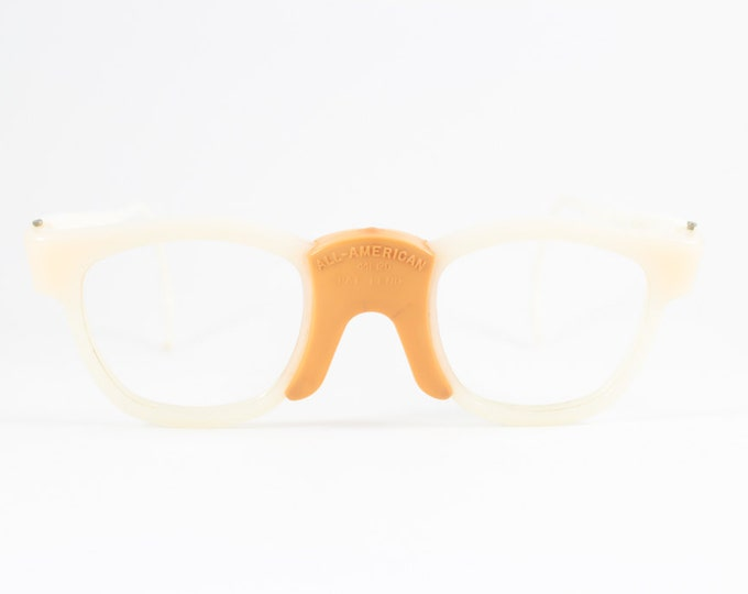 60s Vintage Eyeglasses | White Nylon Sport Safety Glasses | NOS Eyeglass Frame | Deadstock Eyewear