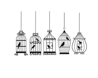 5 CAGES 8 BIRDS in many colors Decals Removable Wall Art  Decal Vinyl Birdcage Sticker
