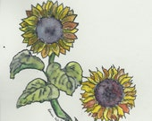 Original Small Watercolor and Ink paintinsunflowers. Framed in a pretty gold frame.