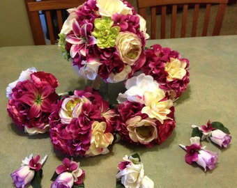 10 pc. Silk Blushing Bride Bouquet