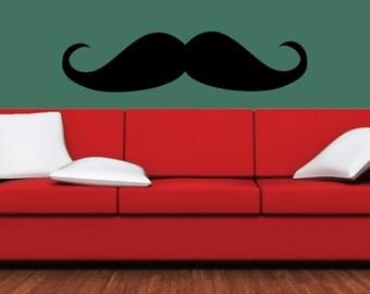 Mustache Wall Decals, Single Mustache, Mustache Party, Mustache Laptop Skin, Custom Wall Decals-Single Stache