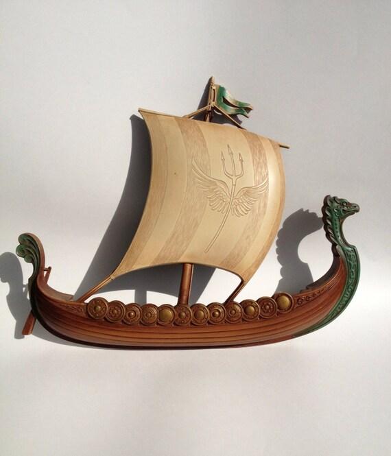 Vintage Viking Ship Syroco Wall Hanging