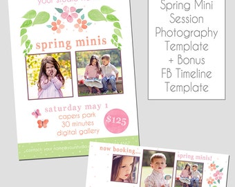 INSTANT DOWNLOAD - Spring Mini Session Photography Template - Marketing Template - Flowers - Watercolor - Polka Dots