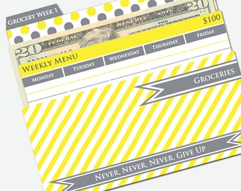 Printable Cash Envelope System - Budget Helper - Yellow and Gray by Pretty Finances