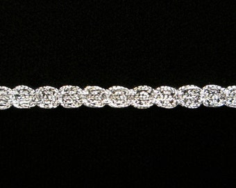 "135.4 Metallic gimp trim ""Narrow Circles"" antique silver 3/16"" (5mm)"