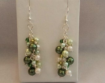 Green Pearls & Silver - Dangle Cluster Earrings