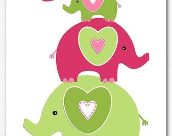 Hot pink and green elephant nursery Art Print  -8x10- Children wall art, baby girl wall art, pink -UNFRAMED