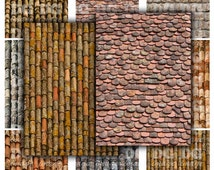 Aged Roof Tiles 2.5 x 3.5 ACEO ATC Background Rustic Printable Digital Collage Sheet Gift Tags Hangtags Jewelry Holders Instant Download