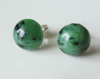 Ruby Zoisite Natural Stone Round 8mm Post Earring