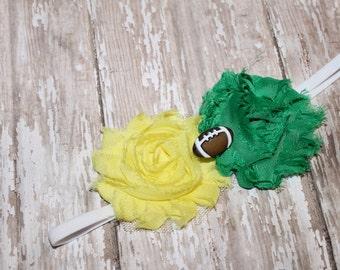 Football Headband, UO football headband, Oregon Ducks football, girls headband, Greenbay Packers headband, Baylor headband, newborn headband