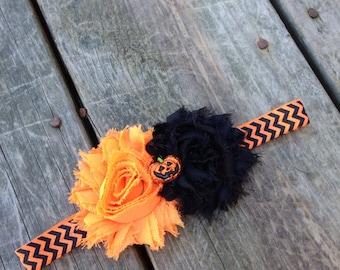 Halloween Headband, Pumpkin Headband, orange and black headband, newborn headband, girls halloween headband