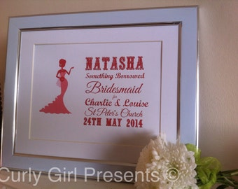 Personalised Bridesmaid Thank You Gift  Mother of the Bride Present Wedding Thank You