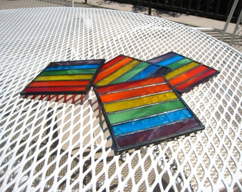 Rainbow Hand-Crafted, Stained Glass Coasters by Krista