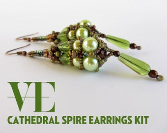 Cathedral Spire Earrings Materials Kit in Green and Brown
