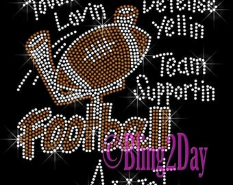 Football Aunt - Touch Down Defense Yellin Team Supportin - Iron on Football Rhinestone Transfer Bling Hot Fix Sports - DIY Football Shirt