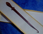 Crochet hook Wand, hand turned Coco Bolo rose wood. Straight shaft. Choose your size F to K. As 2nd item, free ship!