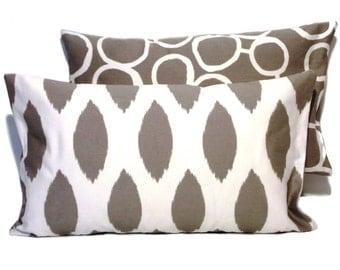 1 pillowcase Ikat pattern CHIPPER 30 x 50 cm grey white