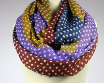 Multicolored Star infinity  scarf, light loop scarf, chunky infinity scarf
