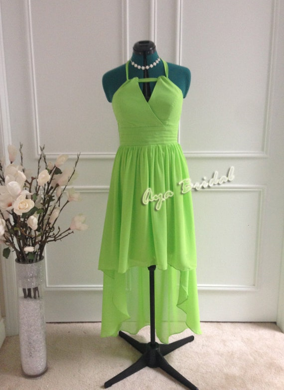 Lime Green hi-low hem Bridal / Bridesmaid Dress / Party chiffon knee length Dress