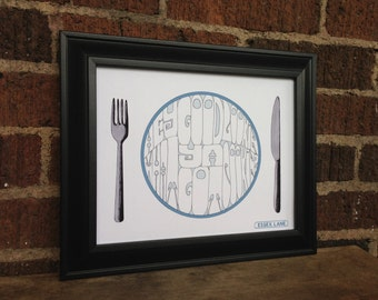 Hank Williams - Hey Good Lookin'  - Hand Drawn Illustration Print - Knife Plate Fork