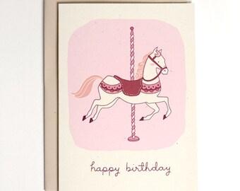 Birthday Card - Carousel Horse