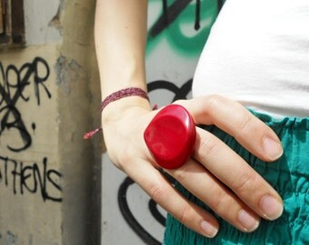 FREE Registered Shipping - SALE One of a kind handmade vintage red button ring