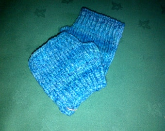 Short merino gloves - light blue