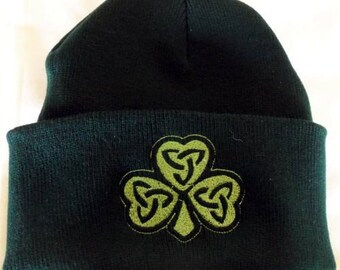 Celtic, Trinity,Celtic Knot ,Shamrock, Beanie Hat  ,Wiccan , Urban Threads,  Green Beanie ,Irish,St Patricks,