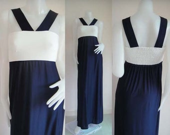 Color block Navy Blue  White sleeveless  long maxi dress sun beach dress all size