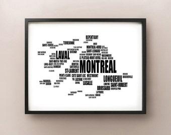 Montreal Typography Map, Quebec Text Art Print
