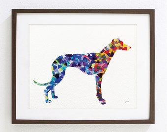 Greyhound Dog Art Watercolor Painting- 8x10/11x14 Archival Print, Dog Art Print- Yellow, Red, Blue Geometric Dog Silhouette Art - Wall Decor