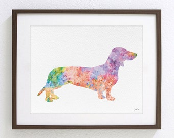 Dachshund Watercolor Painting - 8x10 Archival Art Print - Colorful Dachshund Print, Minimalist Art - Wall Decor, Housewares - Animals