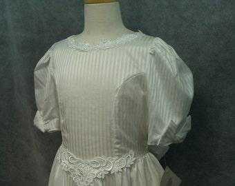 1st Holy Communion White Stripes Dress,Size 10 White, Vintage New, Lace, Basque V Waist, Flattering, Farm Sleeve, 3/4 Sleeve, T Length, Gown