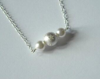 Daisy Chain Necklace, Sterling Silver, Swarovski Pearl