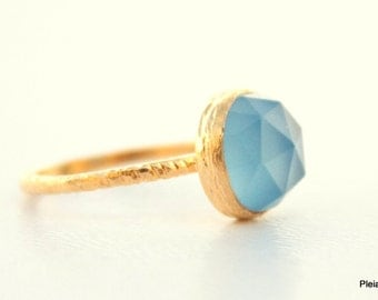 Blue Chalcedony Gold Ring - Vermeil Gold Gemstone Ring  - Sea Blue Gemstone ring