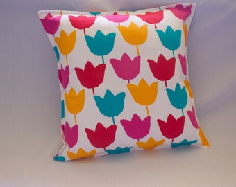CLEARANCE - Cushion Cover, White & Multicolour Flower Print