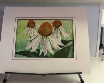 "16 x20 Original water color painting titled ""Cone Flowers"", signed"