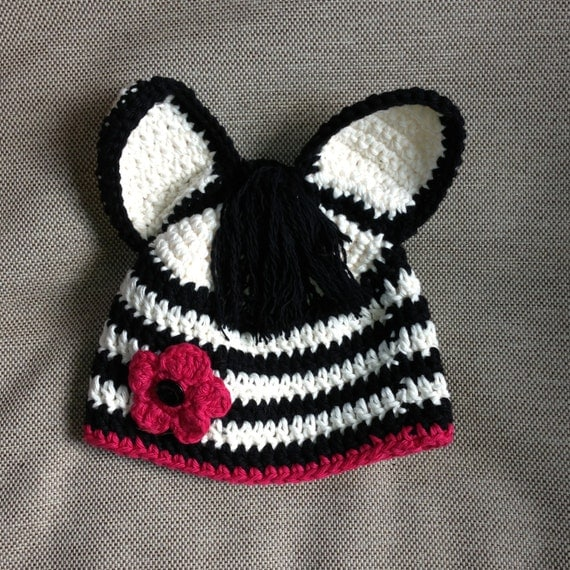 Crochet Pattern Zebra Hat : Crochet Zebra Hat Zebra Hat with Pink Flower Kids