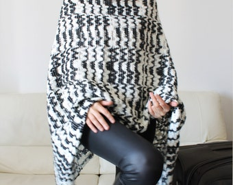 Wool sweater cape, discount, black and white sweater poncho