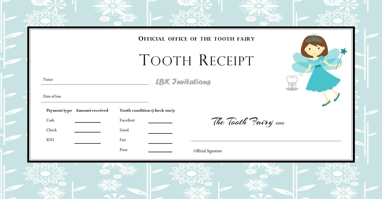 Custom Tooth Fairy Receipt Boy And Girl 5 Designs Included