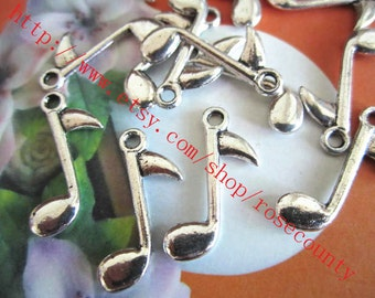 Wholsale 100pcs 25x10mm tibetan silver music note  charms findings